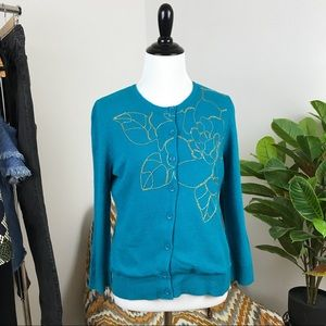 Anthropologie gold embroidered cardigan